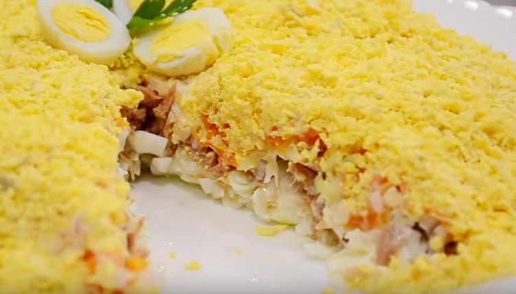 Салат мимоза рецепт с консервой и картофелем