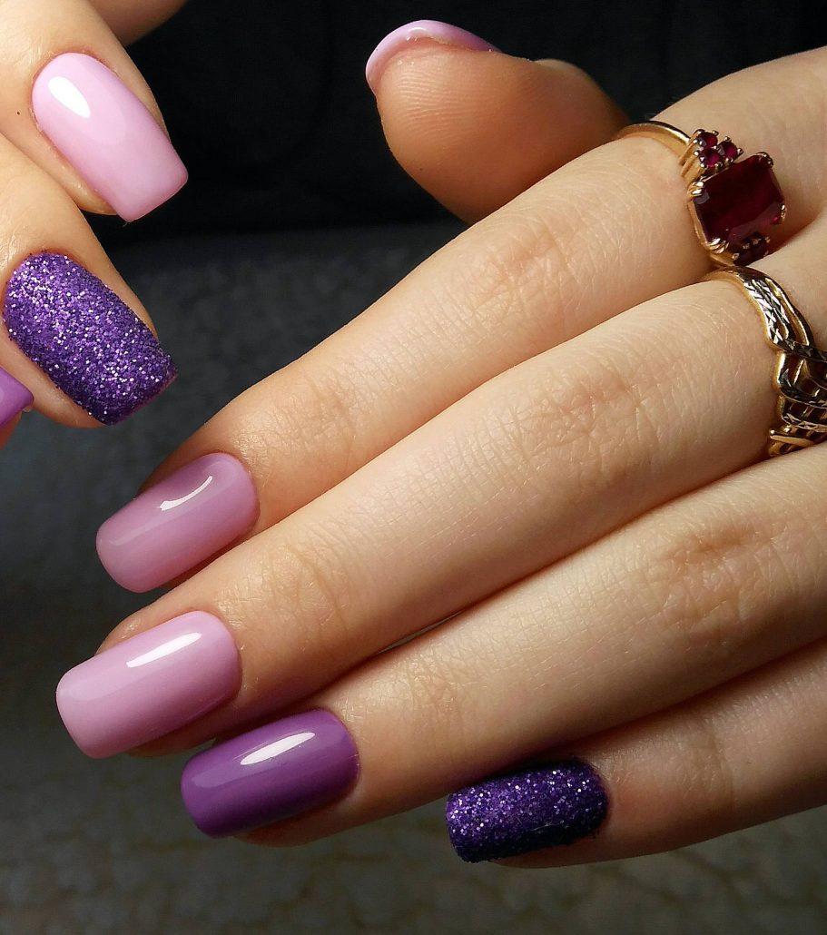 Фото красивых ногтей сиреневые